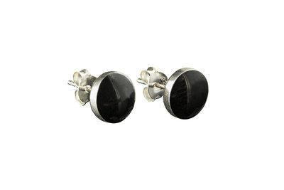 zilveren oorknopjes met onyx steen rond (klein)