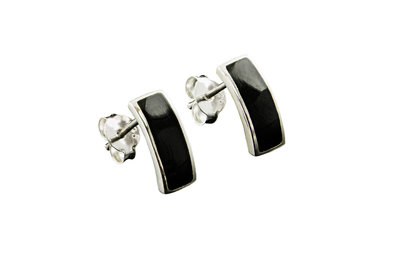 zilveren oorstekers met onyx steen rechthoekig