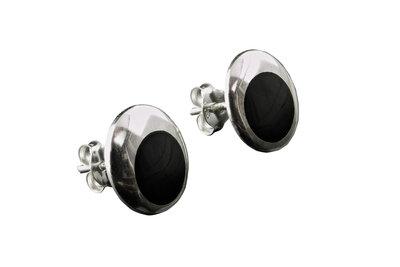 zilveren oorknopjes met onyx steen rond