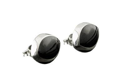zilveren oorknopjes met onyx steen ovaal