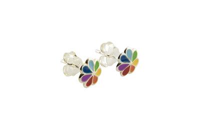 zilveren oorsteker met regenboogbloempje