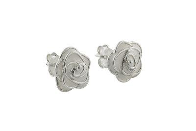 Zilveren oorsteker met bloempje wit/zilver