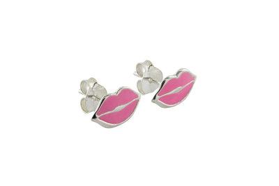 Zilveren oorsteker met roze mondje/kusje