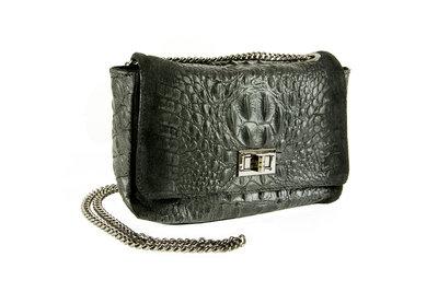 Zwart leren schoudertas/handtas met krokodillenprint