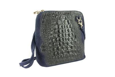 Donkerblauw leren schoudertasje met krokodillenprint