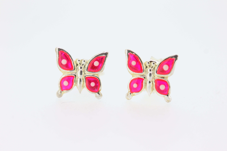Zilveren oorknopjes met roze vlinders