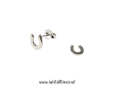Zilveren oorknopjes met hoefijzer