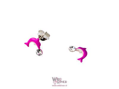 Oorknopje met roze dolfijntjes