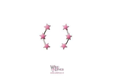 Oorknopjes met Drie Roze Sterren - Echt Zilver 925